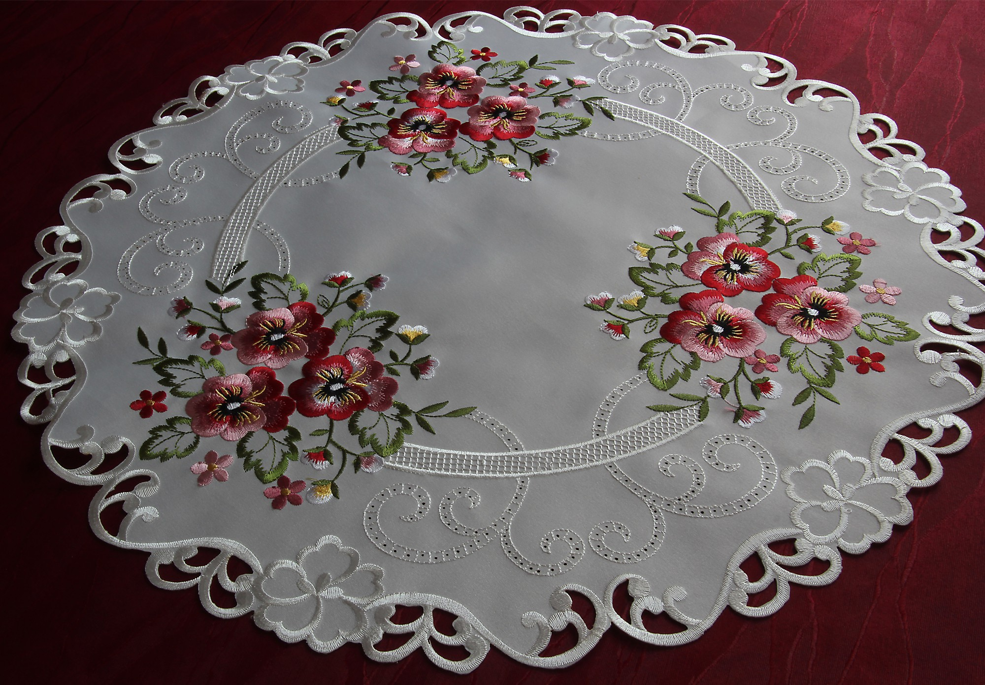 Pink Pansy Doily Table Runner Tablecloth Cream White Ivory