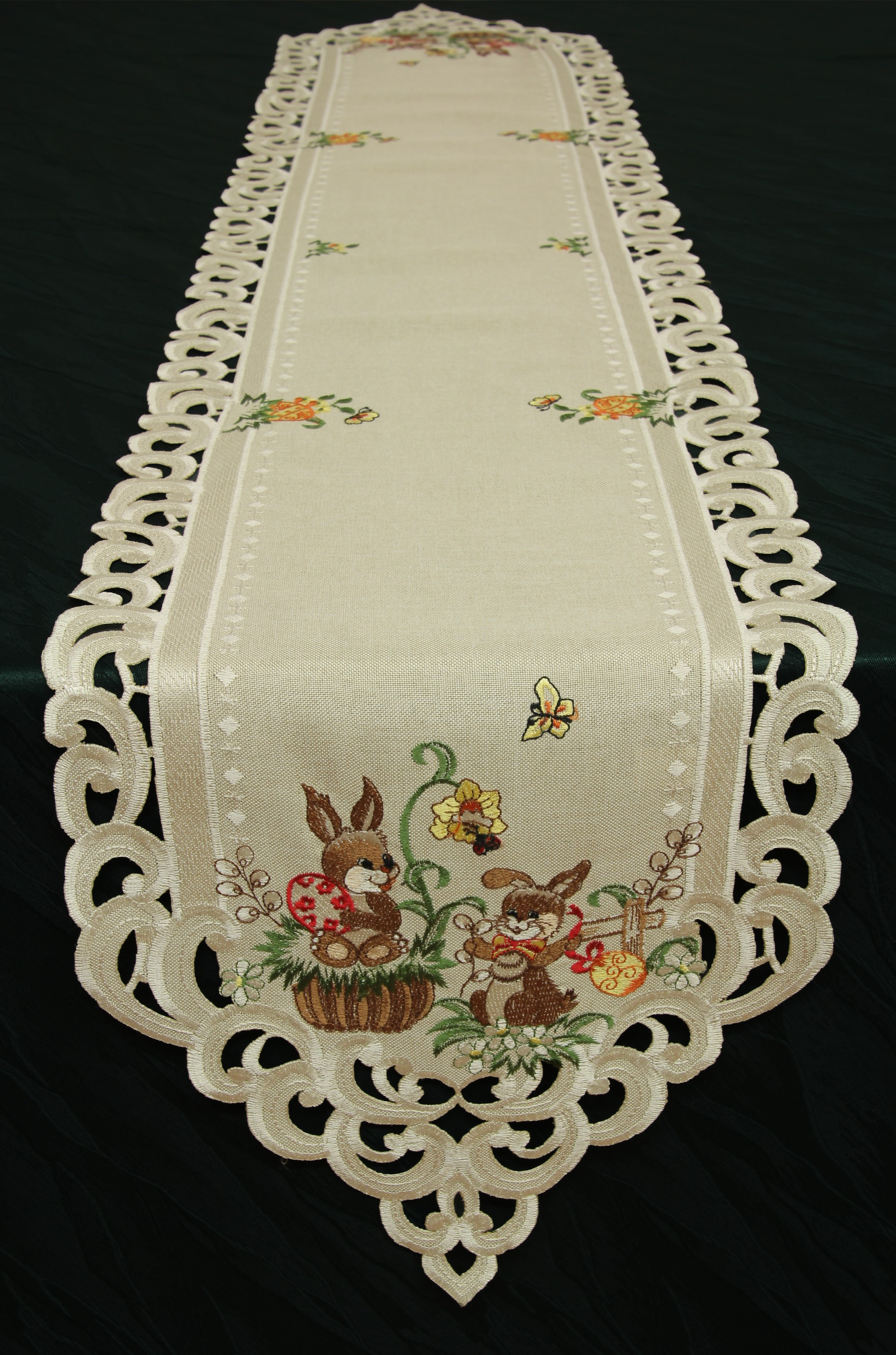 easter table runner doily tablecloth linen look beige. Black Bedroom Furniture Sets. Home Design Ideas