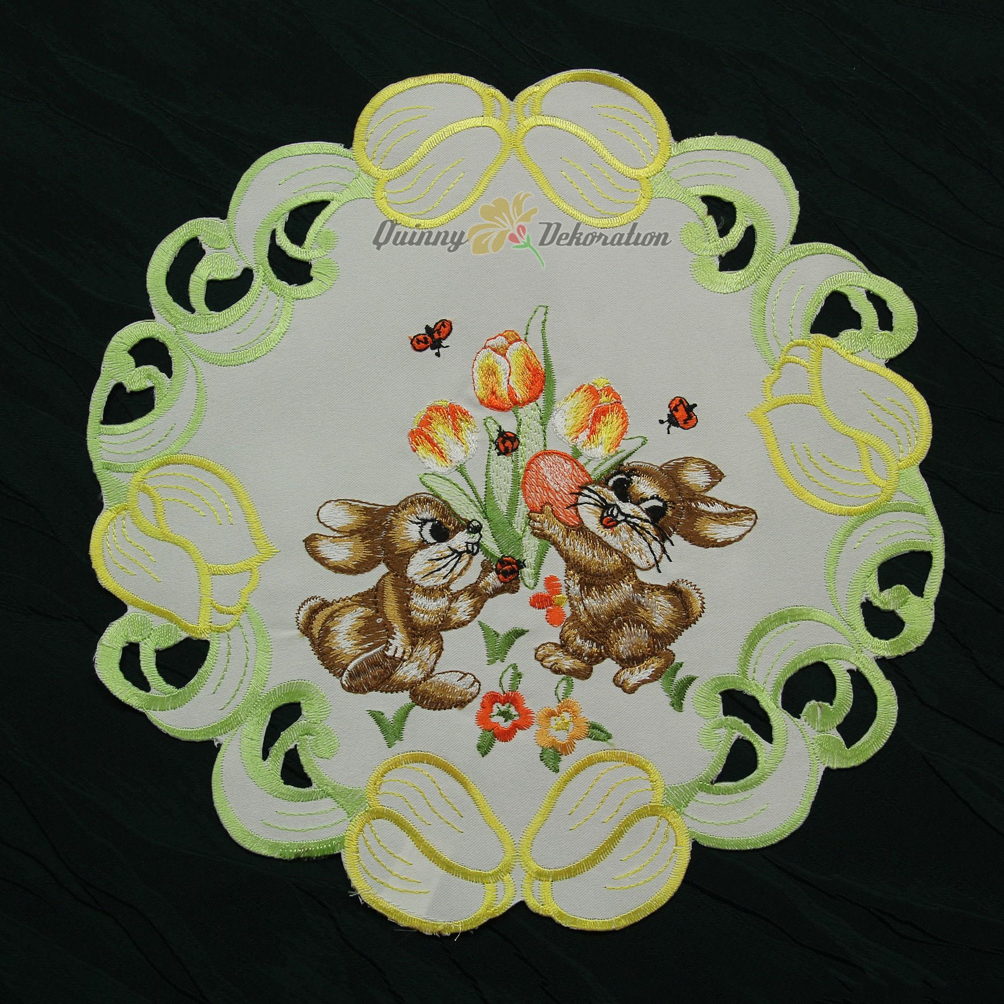ostern tischdecke kissenh lle wei gr n gelb h schen tulpe. Black Bedroom Furniture Sets. Home Design Ideas