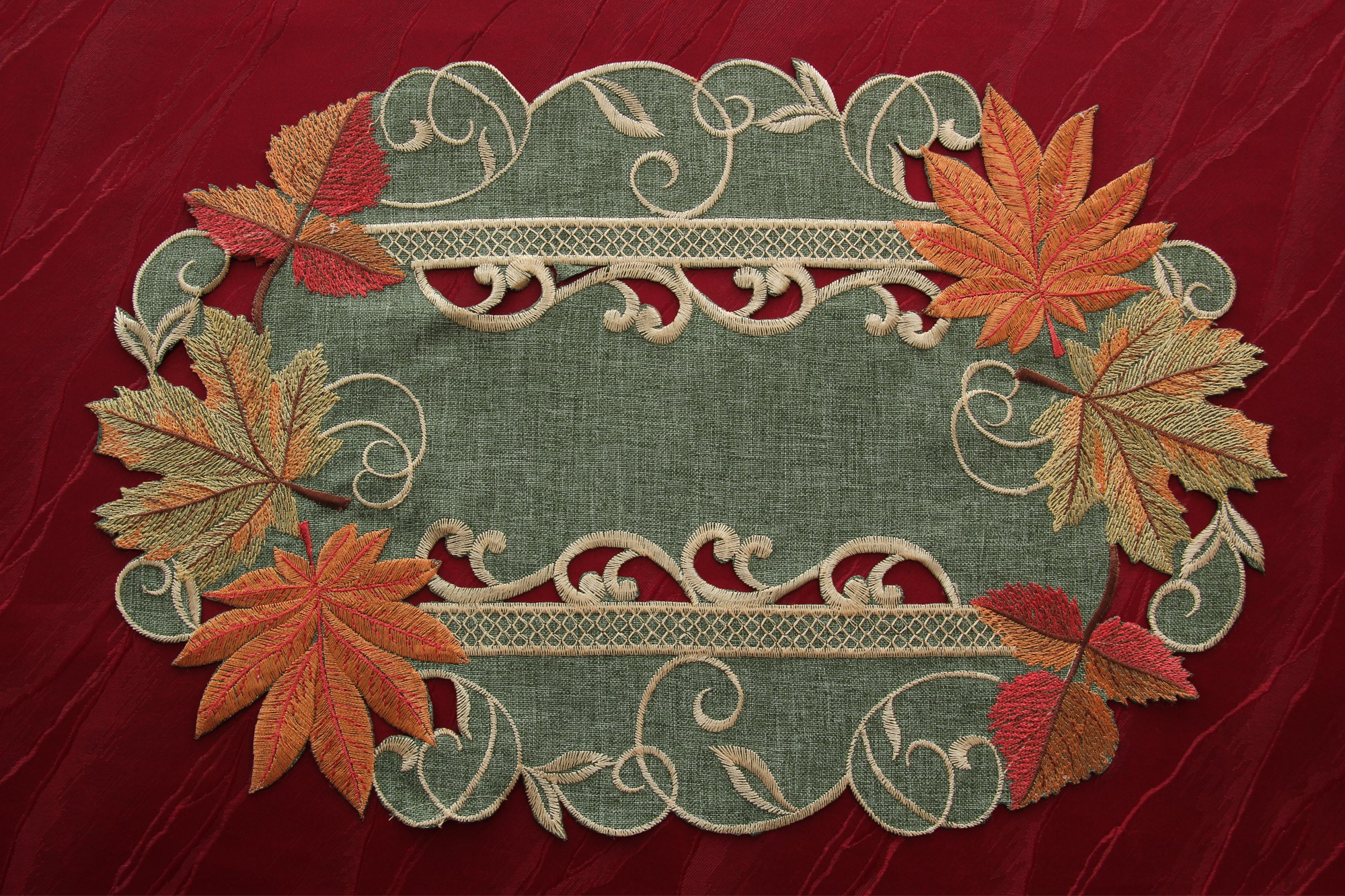Maple table runner doily tablecloth linen look green