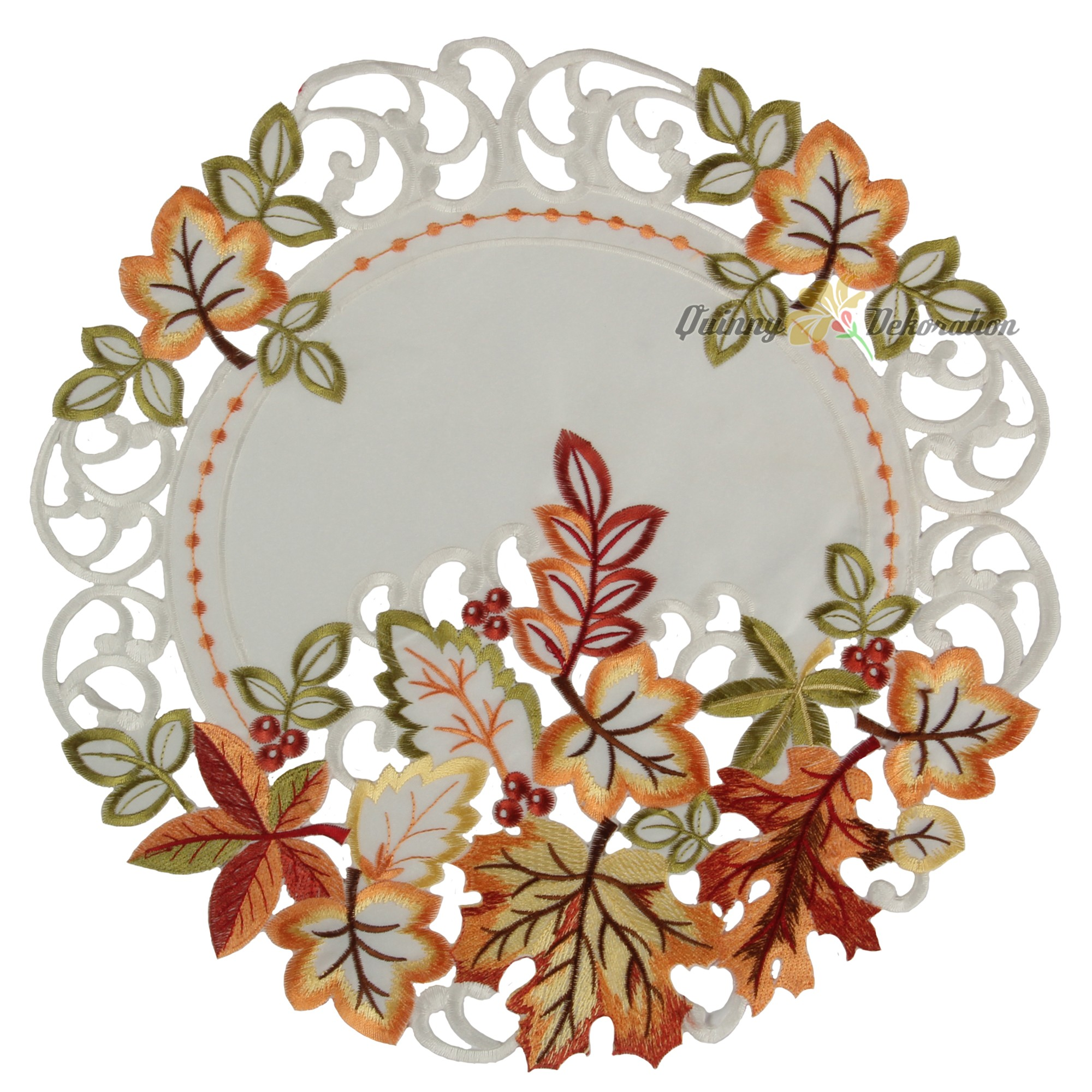 Autumn fall tablecloth table runner doily white green red