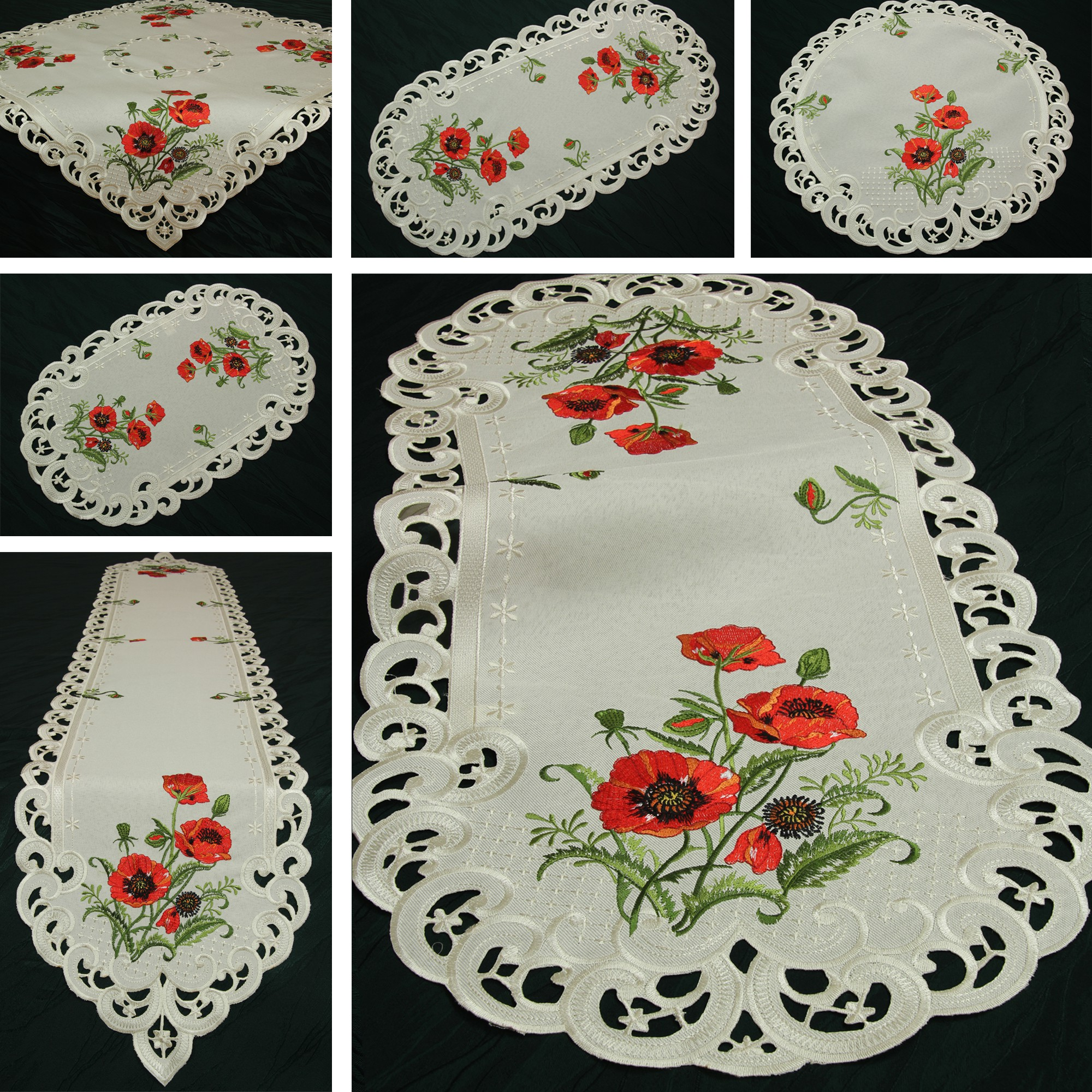 Red poppy doily table runner tablecloth linen look cream