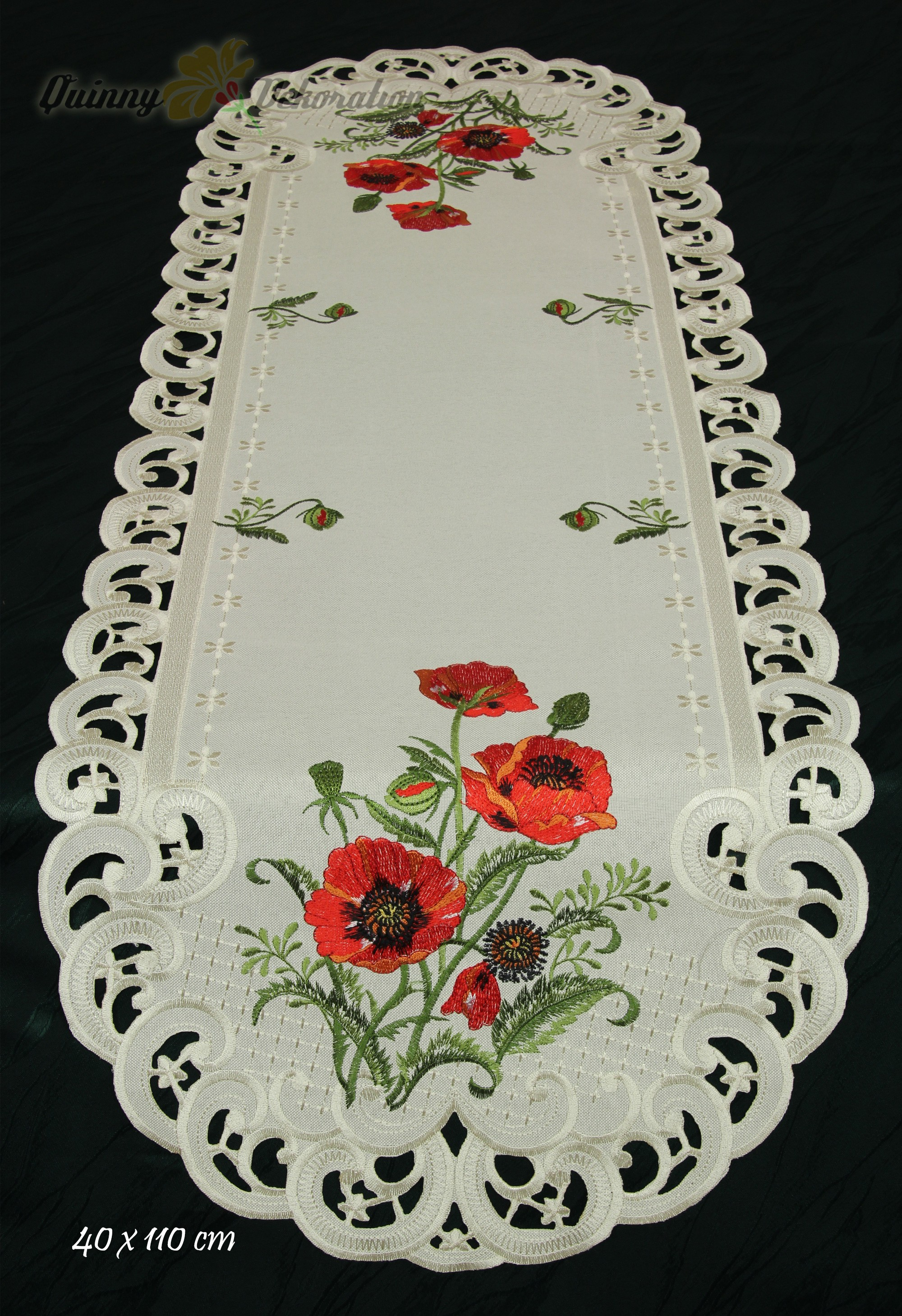 Red Poppy Doily Table Runner Tablecloth Linen Look Cream With Flower Embroidery
