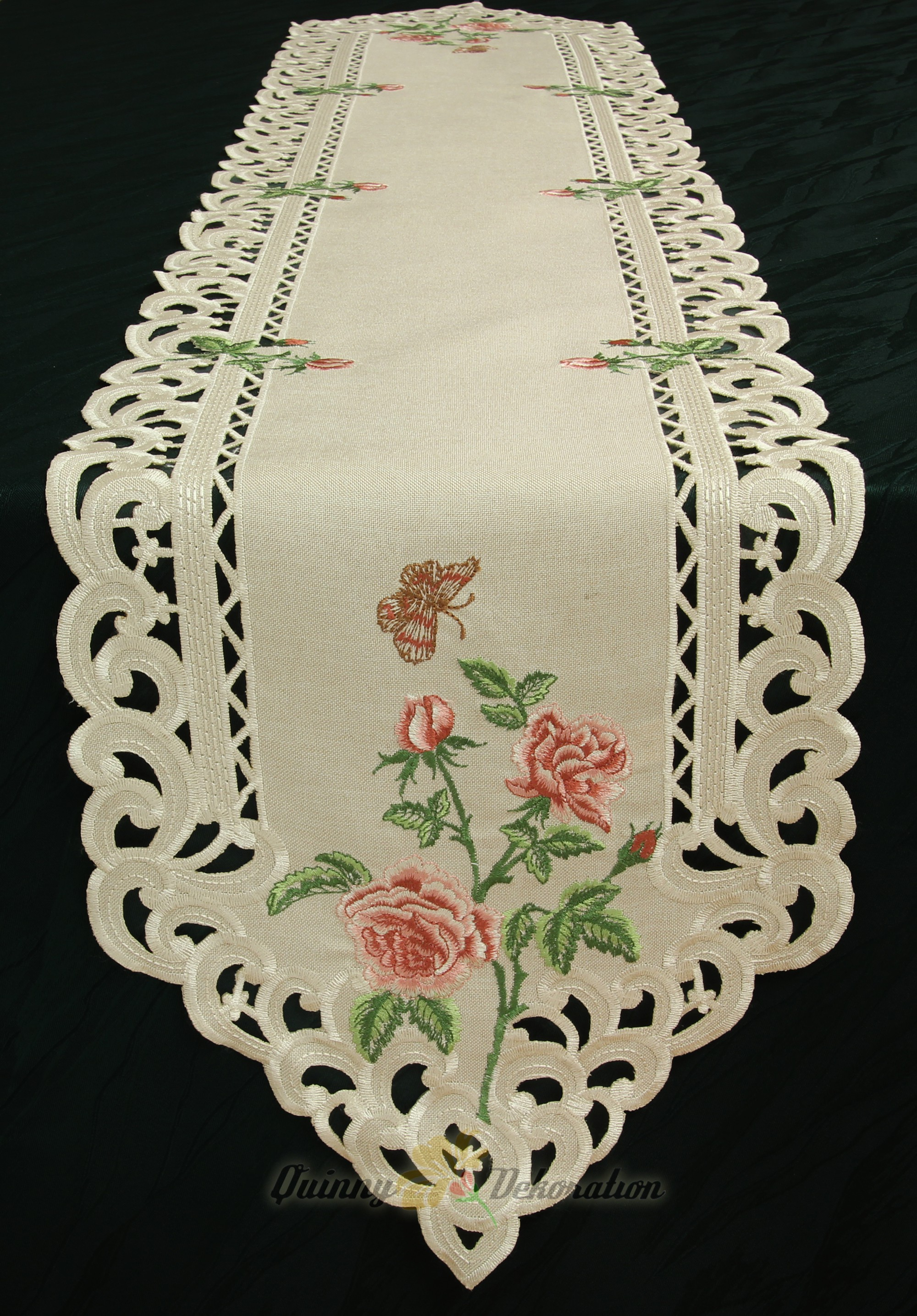 Rose Doily Table Runner Tablecloth Linen Look Beige With