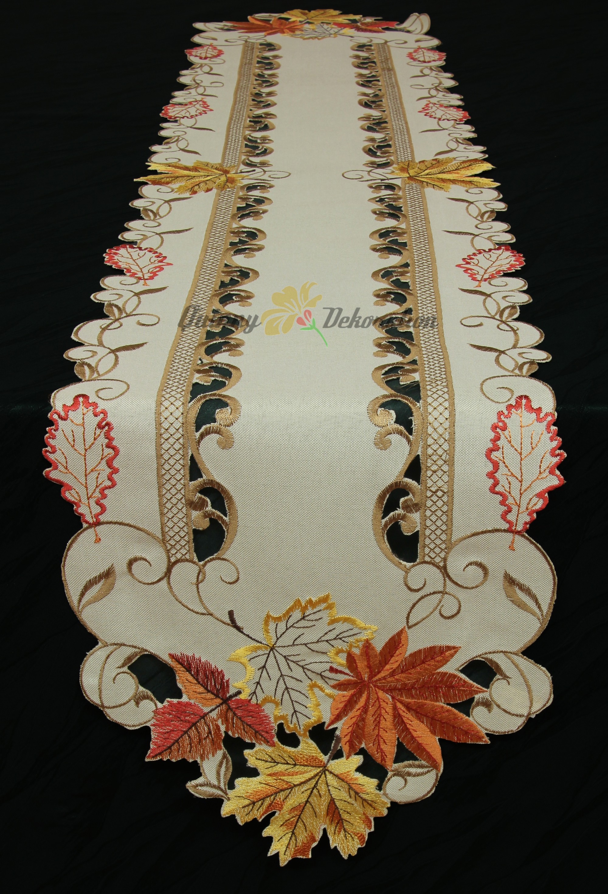 Chestnut table runner doily tablecloth linen look cream