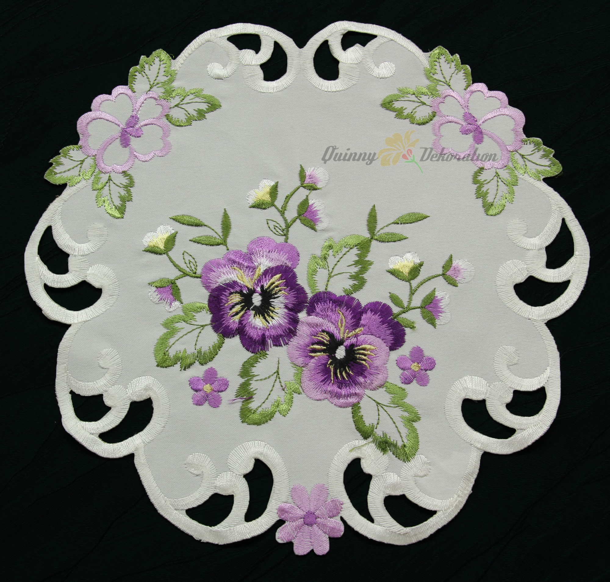 Pansy Table Runner Doily Tablecloth Cushion Cover Cream