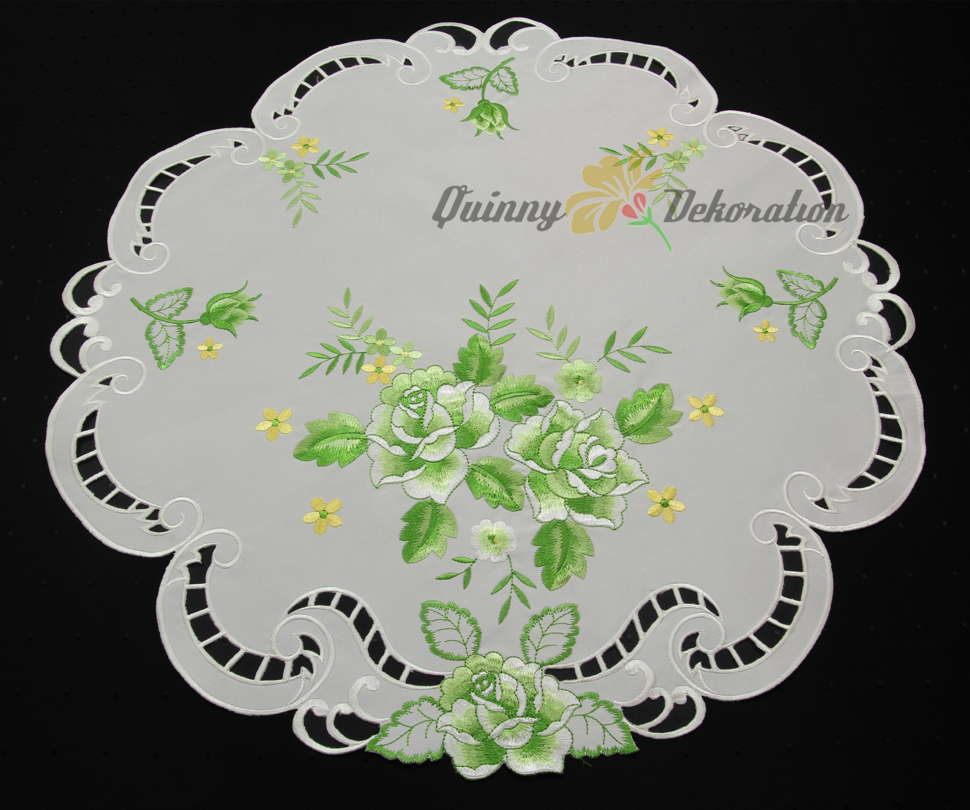 Rose doily table runner topper tablecloth white with green