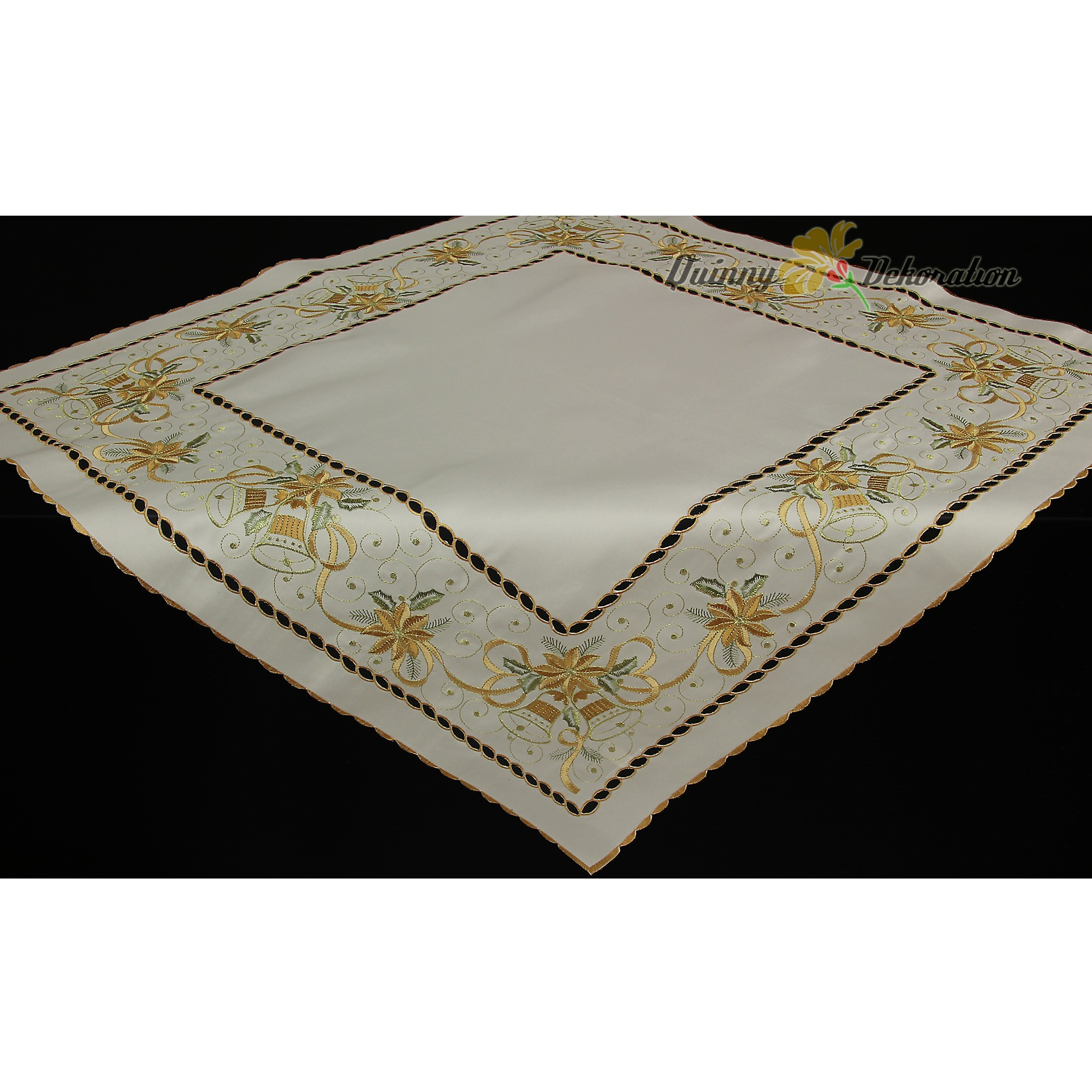 Toile no l chemin de table nappe cr me dor clochettes - Chemin de table dore ...
