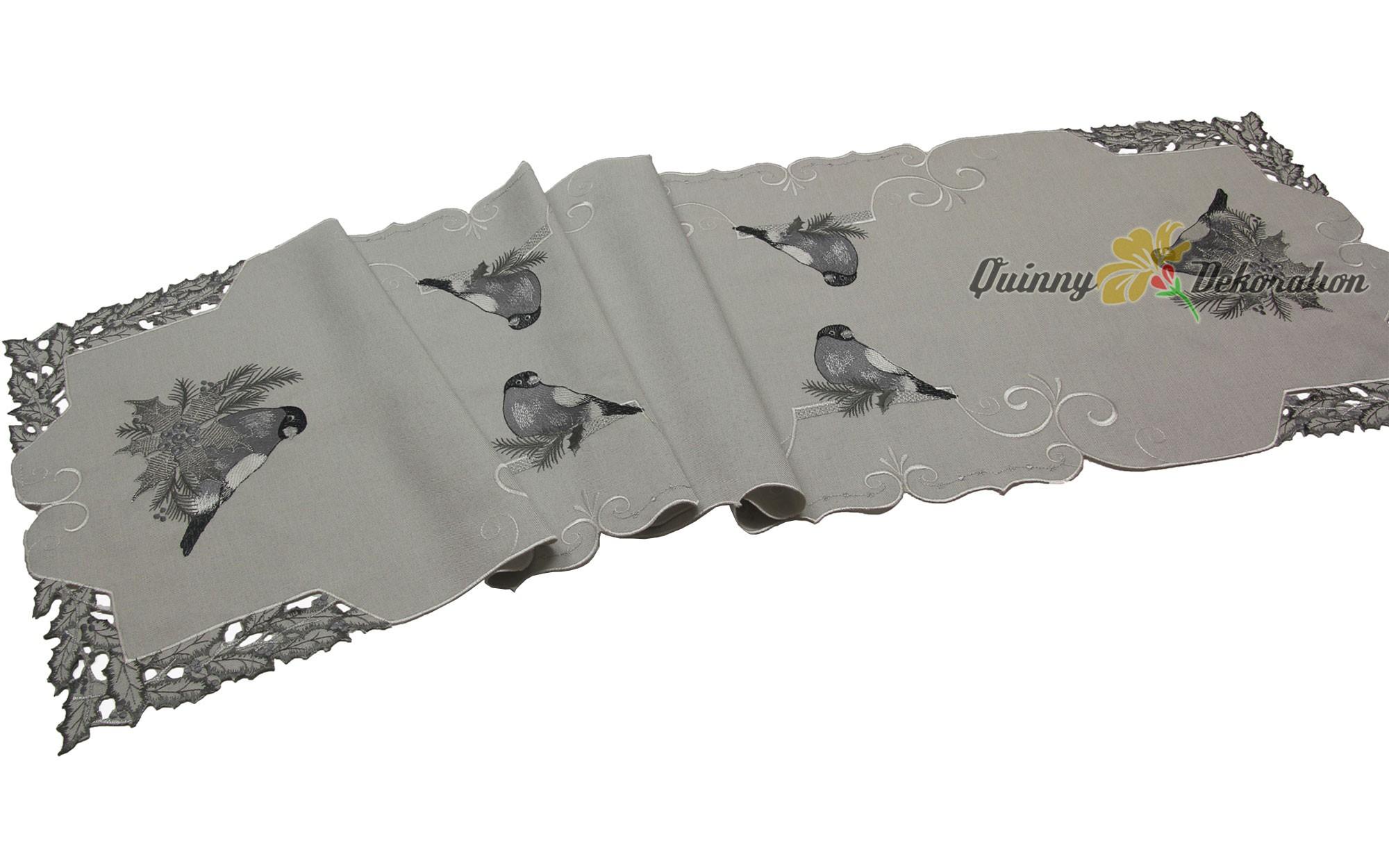 grau tischdecke tischl ufer mitteldecke kissenh lle leinen optik winter vogel ebay. Black Bedroom Furniture Sets. Home Design Ideas
