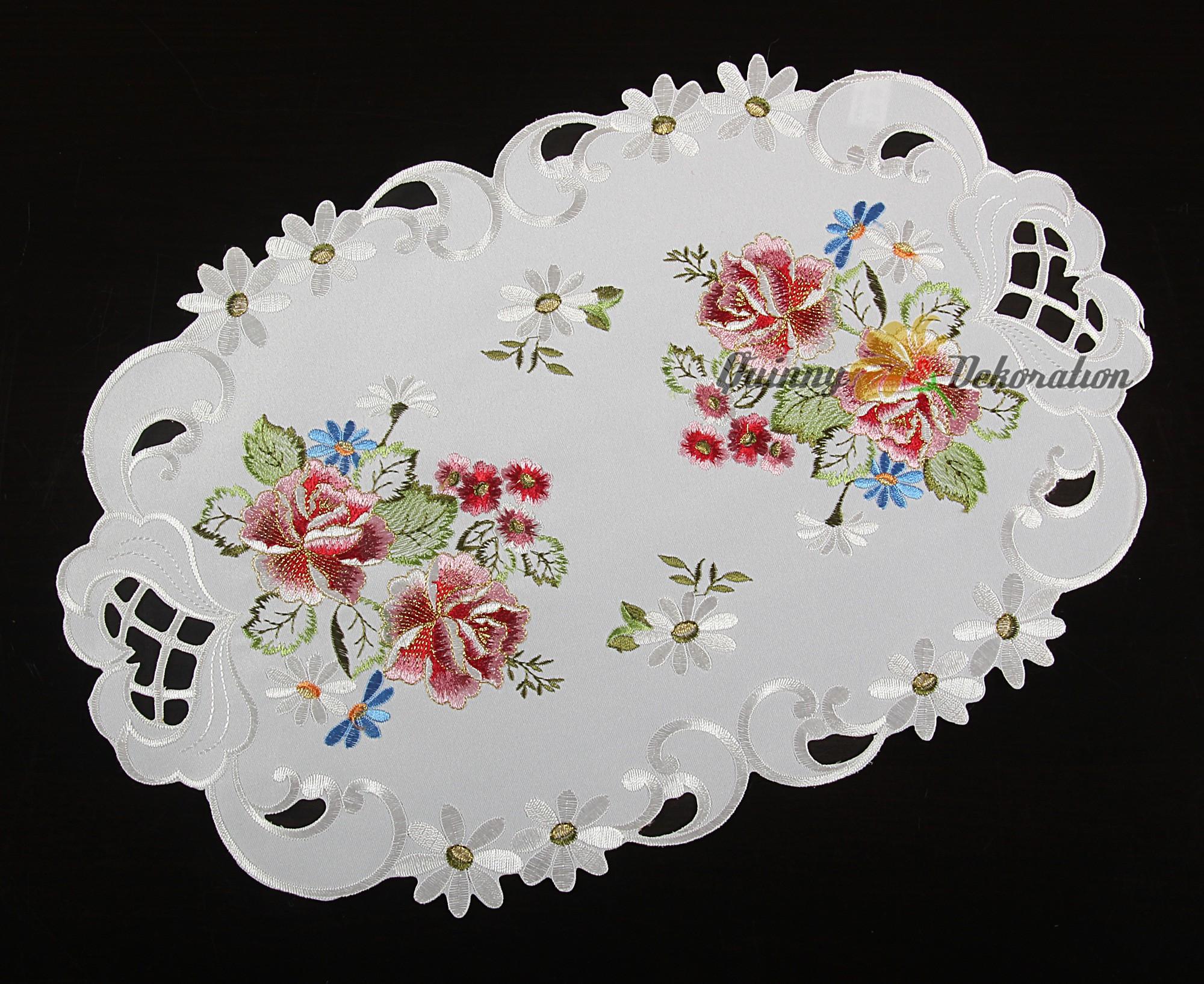 Rose table cloth topper runner doily cushion cover white