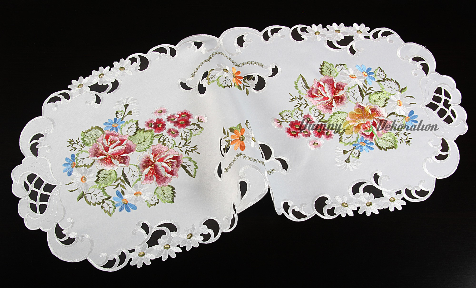 Rose table cloth topper runner doily cushion cover white