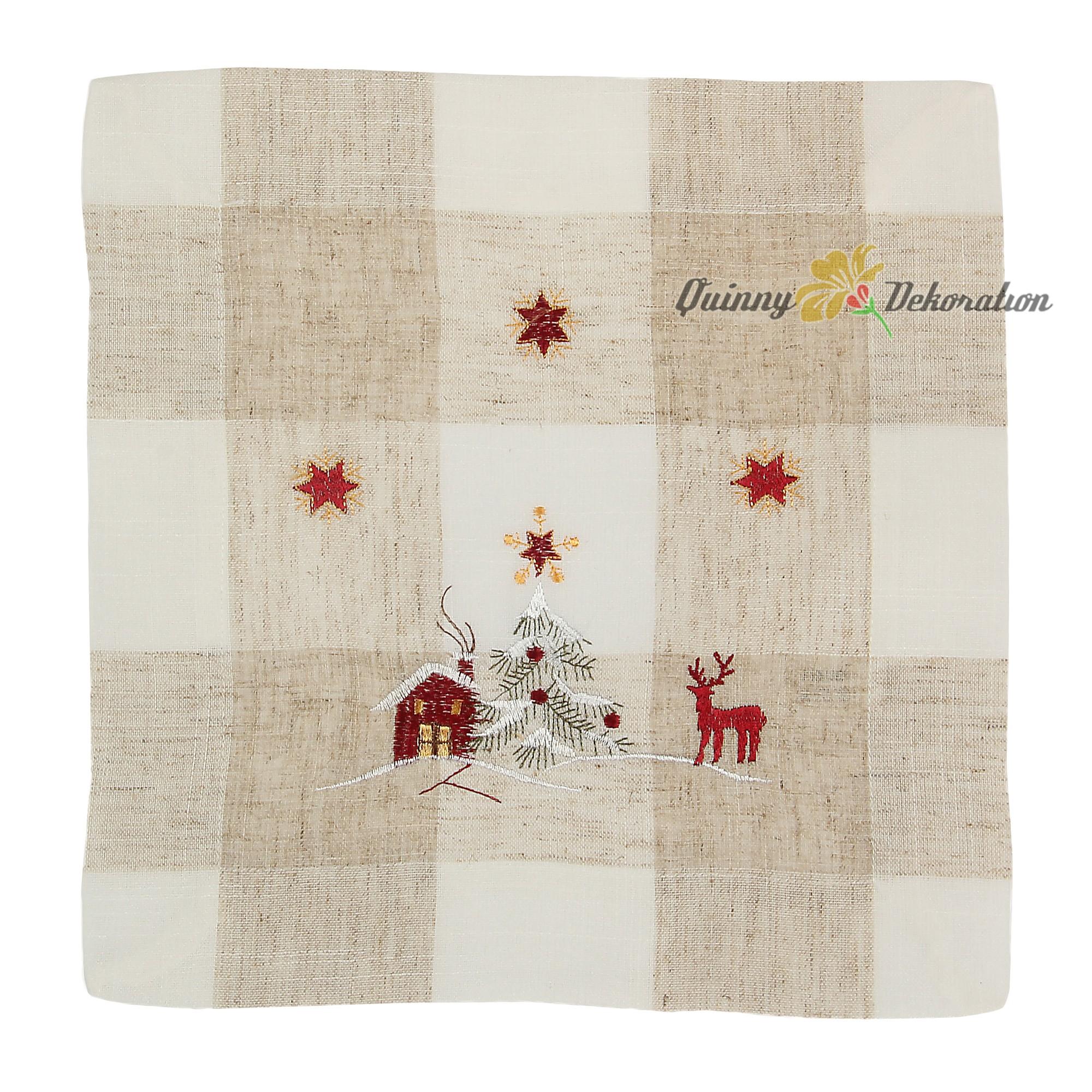 weihnachten leinen tischl ufer mitteldecke hirsch stickerei beige natur ebay. Black Bedroom Furniture Sets. Home Design Ideas