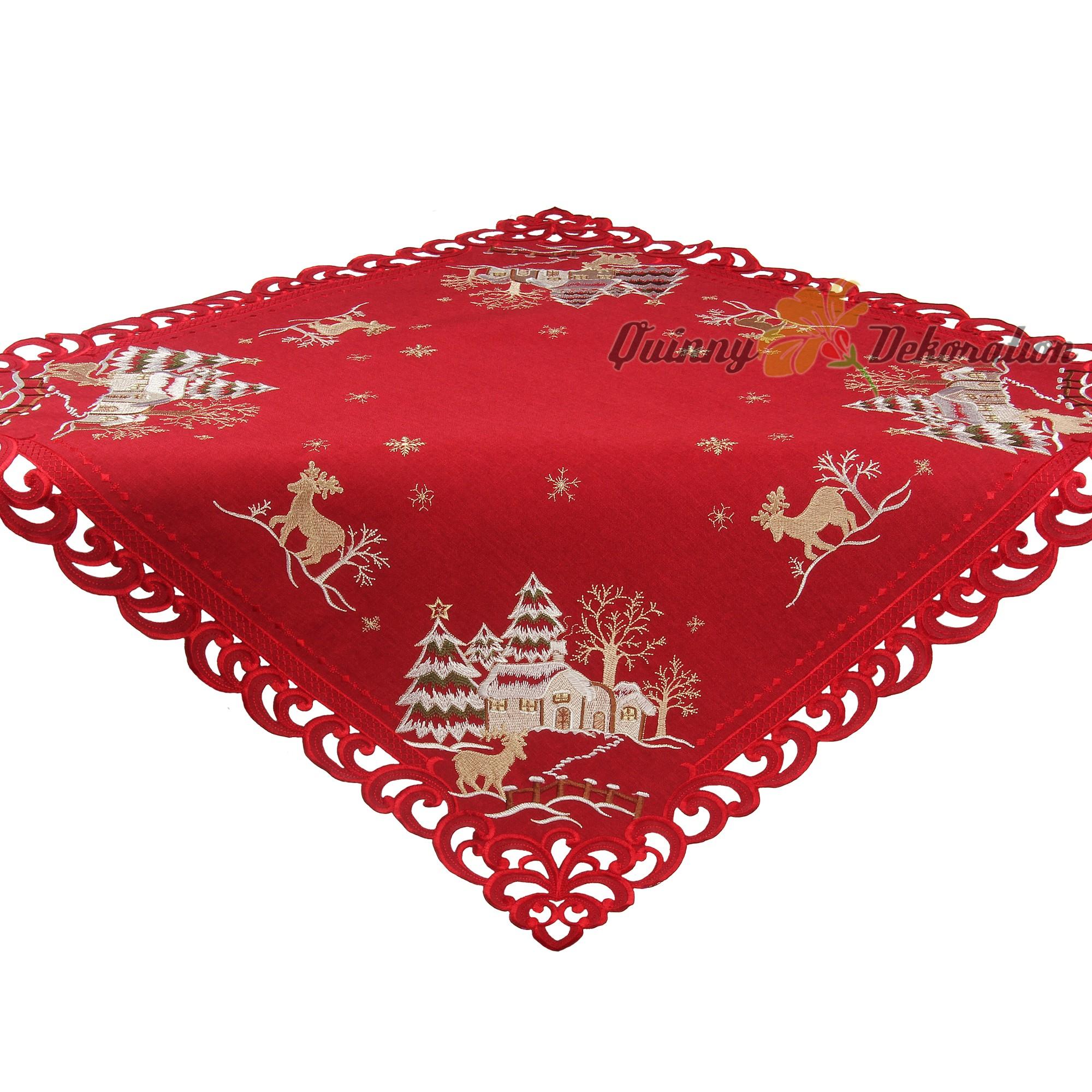 christmas dark red tablecloth table runner doily linen. Black Bedroom Furniture Sets. Home Design Ideas
