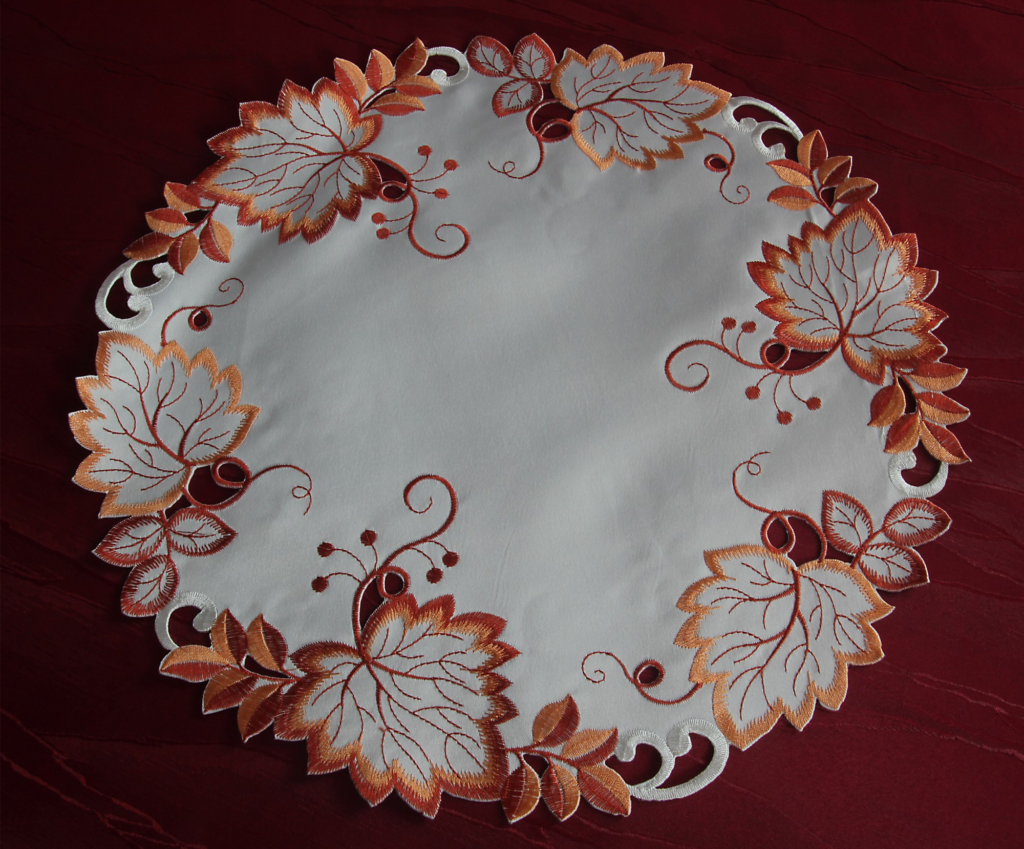 Embroidered tablecloth table runner topper doily autumn
