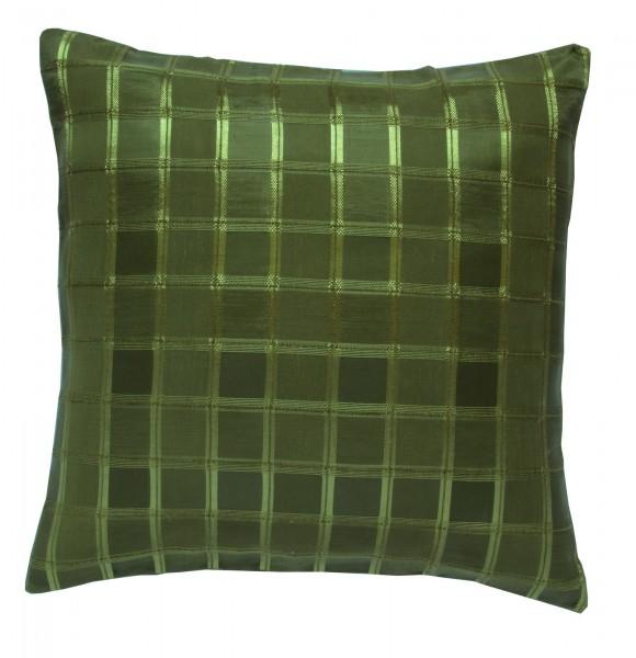 2er pack kissenh lle 40x40 cm organza gr n oliv kariert sofa kissen bezug kissenh llen. Black Bedroom Furniture Sets. Home Design Ideas