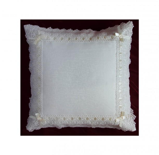 kissenbezug deko kissenh lle wei mit spitzen 40x40 neu kissenh llen. Black Bedroom Furniture Sets. Home Design Ideas
