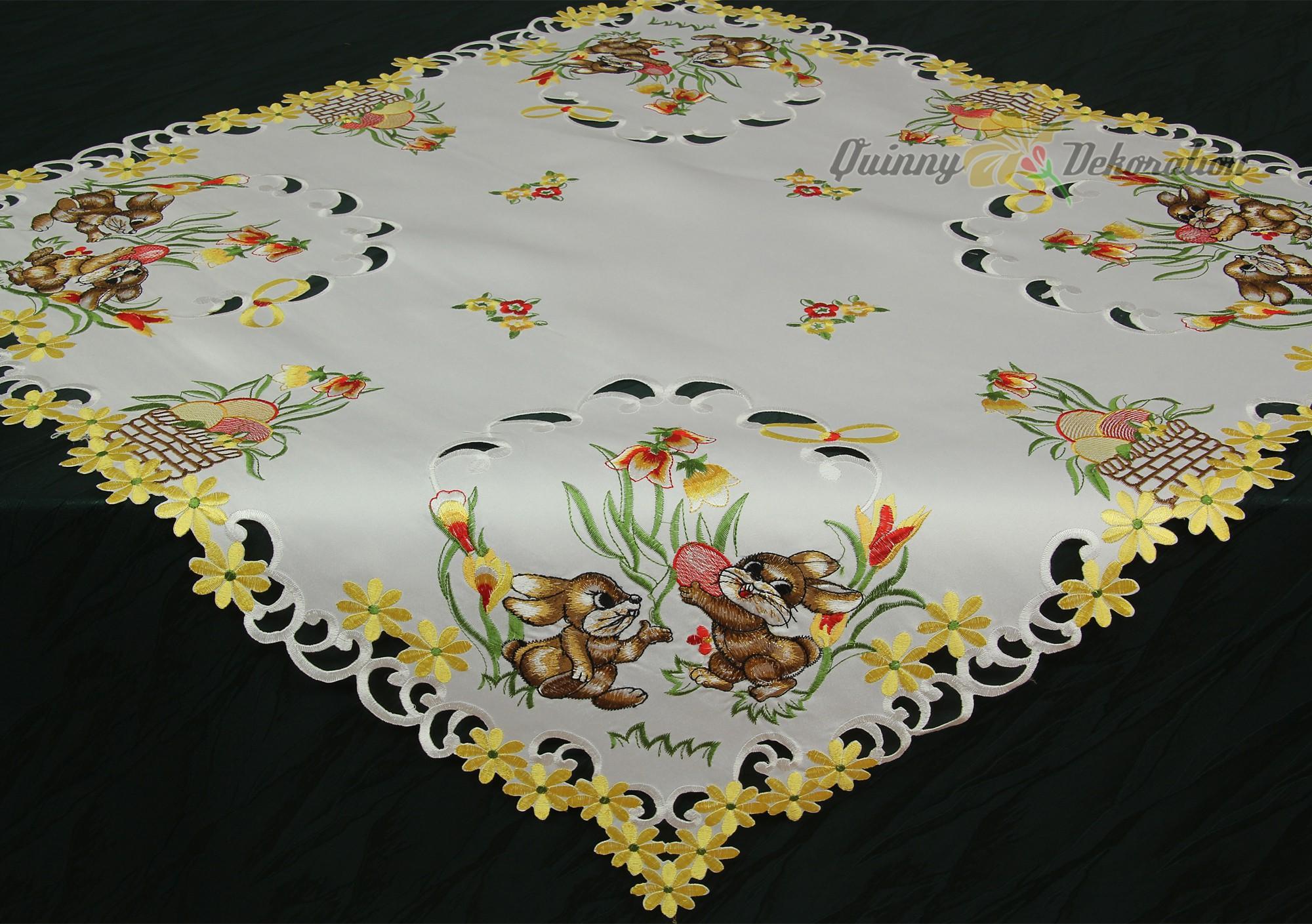 P ques chemin de table nappe blanc avec lapins marrons - Chemin de table pour paques ...